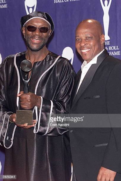 Isaac Hayes and Sam Moore in the press room at the 17th Annual Rock and Roll Hall Of Fame Induction Ceremony at the WaldorfAstoria in New York City...
