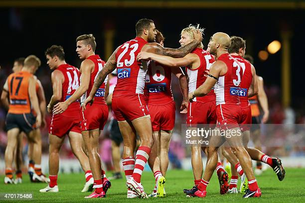Isaac Heeney of the Swans celebrates with Lance Franklin after kicking a goal during the round three AFL match between the Sydney Swans and the...