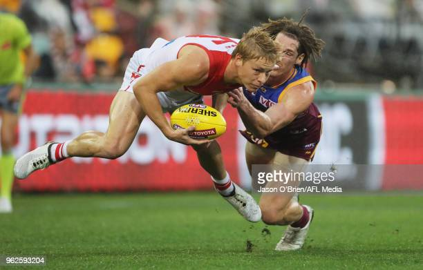 Isaac Heeney of the Swans in action during the round 10 AFL match between the Brisbane Lions and the Sydney Swans at The Gabba on May 26, 2018 in...