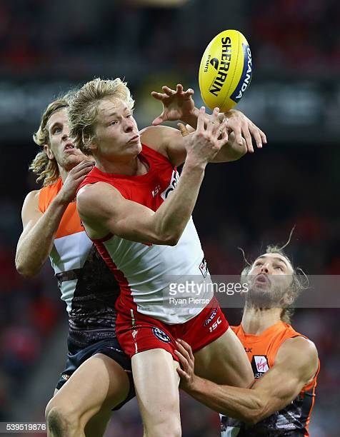 Isaac Heeney of the Swans marks during the round 12 AFL match between the Greater Western Sydney Giants and the Sydney Swans at Spotless Stadium on...