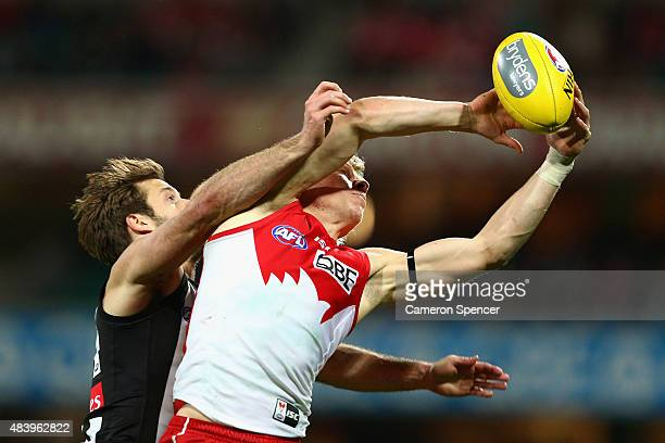 Isaac Heeney of the Swans marks during the round 20 AFL match between the Sydney Swans and the Collingwood Magpies at SCG on August 14, 2015 in...