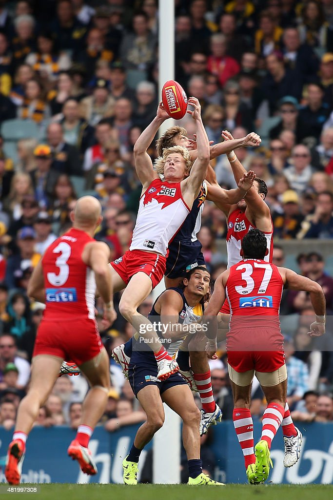 Isaac Heeney of the Swans marks the ball during the round 17 AFL match between the West Coast Eagles and the Sydney Swans at Domain Stadium on July 26, 2015 in Perth, Australia.