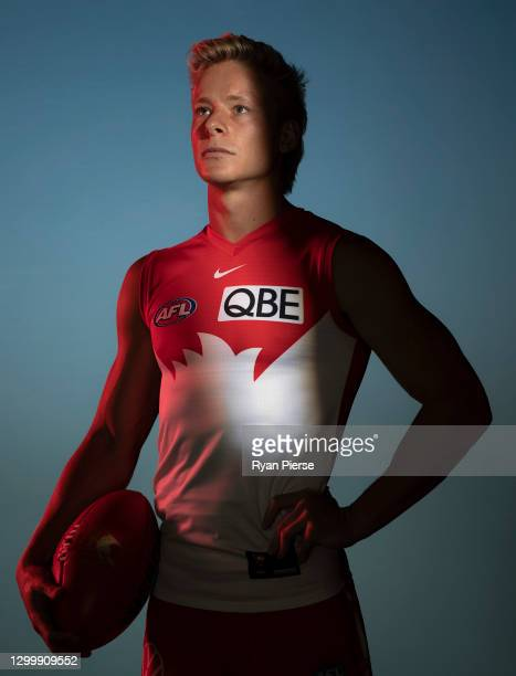 Isaac Heeney of the Swans poses during a portrait session at the Sydney Swans 2021 AFL media day at Sydney Cricket Ground on February 02, 2021 in...
