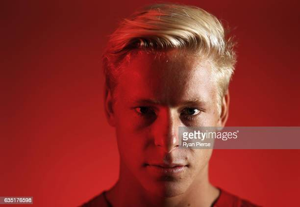 Isaac Heeney of the Swans poses during a portrait session at the SCG on February 14 2017 in Sydney Australia