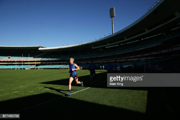 Isaac Heeney of the Swans runs during a Sydney Swans AFL training session at Sydney Cricket Ground on August 8 2017 in Sydney Australia