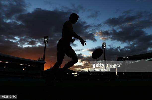 Isaac Heeney of the Swans runs laps during a Sydney Swans AFL media session at the Sydney Cricket Ground on June 6 2017 in Sydney Australia