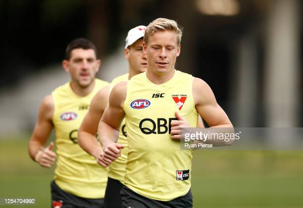 Isaac Heeney of the Swans trains during a Sydney Swans AFL training session at Lakeside Oval on July 07 2020 in Sydney Australia