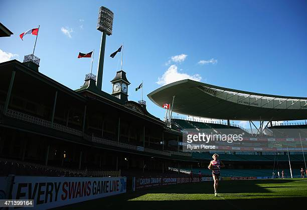 Isaac Heeney of the Swans trains during a Sydney Swans AFL training session at Sydney Cricket Ground on April 28 2015 in Sydney Australia