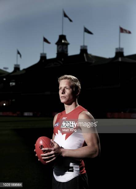 Isaac Heeney poses during a Sydney Swans AFL media opportunity at the Sydney Cricket Ground on August 30 2018 in Sydney Australia
