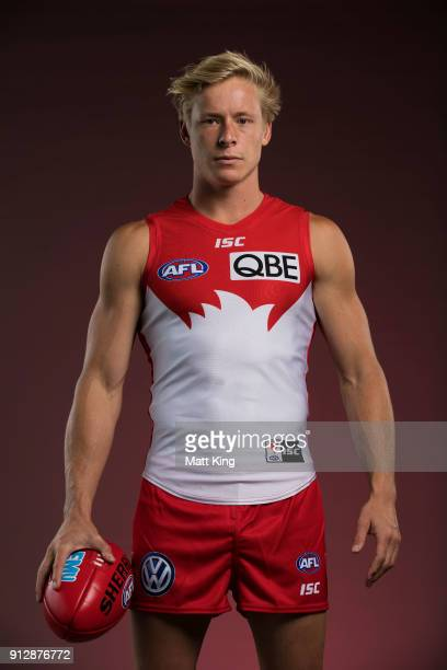 Isaac Heeney poses during a Sydney Swans AFL portrait session on February 1 2018 in Sydney Australia