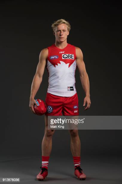 Isaac Heeney poses during a Sydney Swans AFL portrait session on February 1, 2018 in Sydney, Australia.