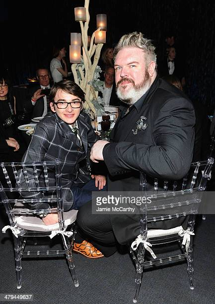 Isaac Hempstead Wright and Kristian Nairn attend Game Of Thrones Season 4 New York Premiere After Party at Avery Fisher Hall Lincoln Center on March...