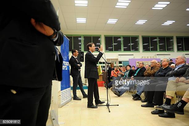 Isaac Herzog leader of Hamahane Hatzioni Party speaks to supporters during an elections campaign meeting on January 18 in Kfar Haim quotHamahane...