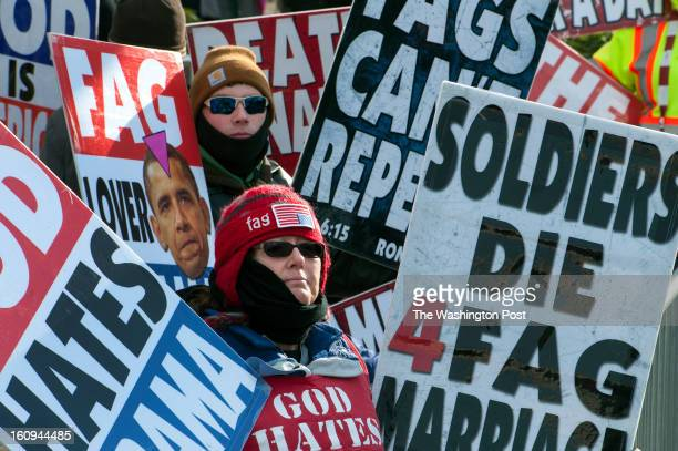 Isaac Hockenbarger back and Margie Phelps with the Westboro Baptist Church in Kansas want to bring attention to gay marriage along the Inaugural...