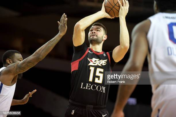 Isaac Humphries of the Erie BayHawks shoots a three pointer during an NBA GLeague game on December 29 2018 at Erie Insurance Arena in Erie PA NOTE TO...