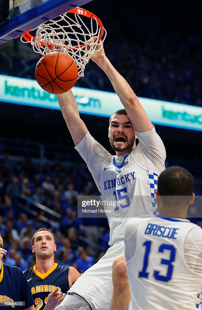 Isaac Humphries #15 of the Kentucky Wildcats dunks the ball against the Canisius Golden Griffins at Rupp Arena Stadium on November 13, 2016 in Lexington, Kentucky.