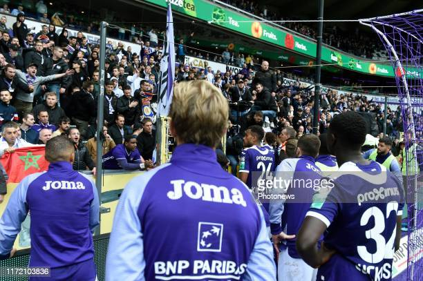 Isaac Kiese Thelin forward of Anderlecht and teammates and the fans looks dejected after missing a opportunity to to win the match pictured during...