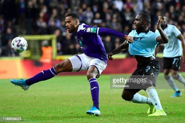 Isaac Kiese Thelin forward of Anderlecht & Eder Balanta defender of Club Brugge during the Belgian Croky Cup 1/4 Finale match between RSC Anderlecht...