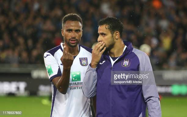 Isaac Kiese Thelin of Anderlecht and Nacer Chadli of Anderlecht look dejected during the Jupiler Pro League match between Club Brugge KV and RSC...