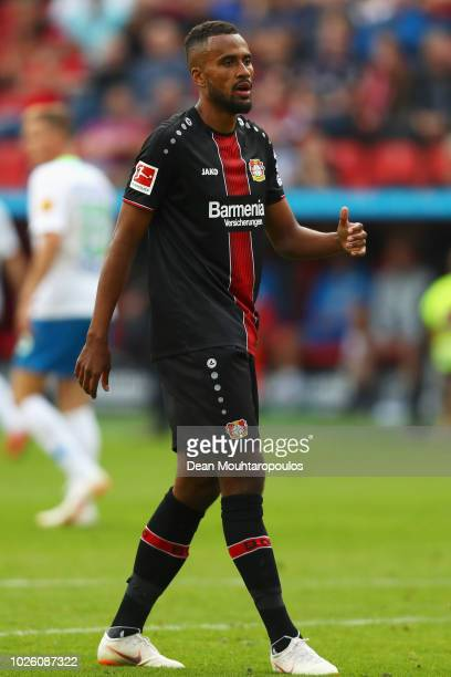 Isaac Kiese Thelin of Bayer 04 Leverkusen in action during the Bundesliga match between Bayer 04 Leverkusen and VfL Wolfsburg at BayArena on...