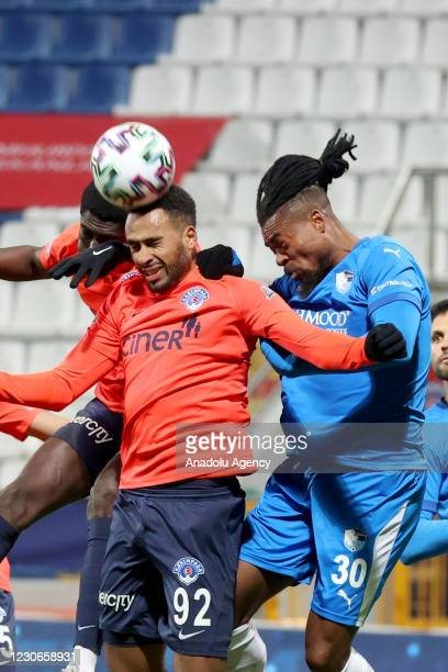 Isaac Kiese Thelin of Kasimpasa in action against Adolphe Teikeu Kamgang of Buyuksehir Belediye Erzurumspor during Turkish Super Lig week 19 match...