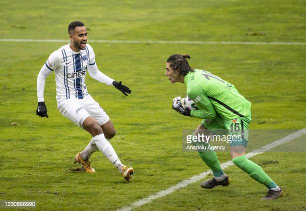 Isaac Kiese Thelin of Kasimpasa in action against Dogan Alemdar of Hes Kablo Kayserispor during Turkish Super Lig match between Kasimpasa and Hes...