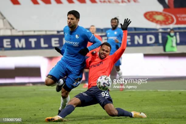 Isaac Kiese Thelin of Kasimpasa in action against Manuel da Costa of Buyuksehir Belediye Erzurumspor during Turkish Super Lig week 19 match between...
