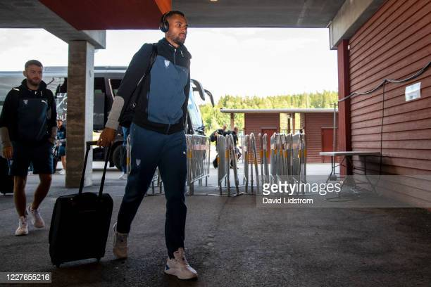 Isaac Kiese Thelin of Malmo FF arrives ahead of the Allsvenskan match between Ostersunds FK and Malmo FF at Jamtkraft Arena on July 16, 2020 in...
