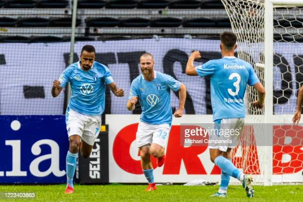 Isaac Kiese Thelin of Malmo FF celebrates after scoring the 1-2 goal from the penalty spot during an Allsvenskan match between AIK and Malmo FF at...