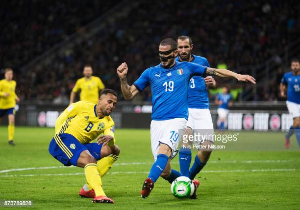 Isaac Kiese Thelin of Sweden and Leonardo Bonucci of Italy competes for the ball during the FIFA 2018 World Cup Qualifier PlayOff Second Leg between...