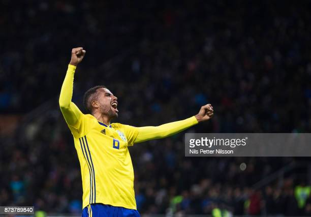 Isaac Kiese Thelin of Sweden celebrates after the FIFA 2018 World Cup Qualifier PlayOff Second Leg between Italy and Sweden at San Siro Stadium on...