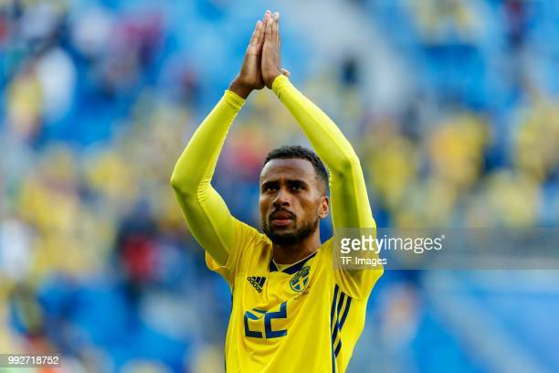 Isaac Kiese Thelin of Sweden celebrates after winning the 2018 FIFA World Cup Russia Round of 16 match between Sweden and Switzerland at Saint...