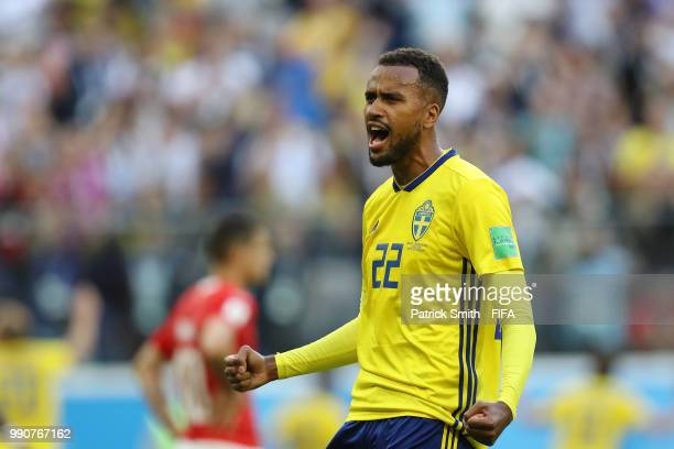 Isaac Kiese Thelin of Sweden celebrates following the 2018 FIFA World Cup Russia Round of 16 match between Sweden and Switzerland at Saint Petersburg...