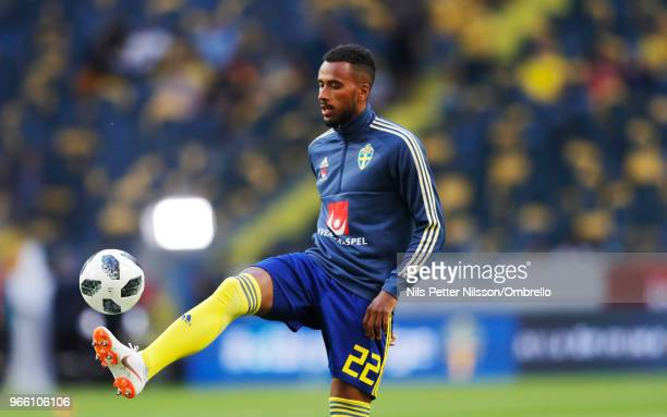Isaac Kiese Thelin of Sweden during warm up ahead of the International Friendly match between Sweden and Denmark at Friends Arena on June 2 2018 in...