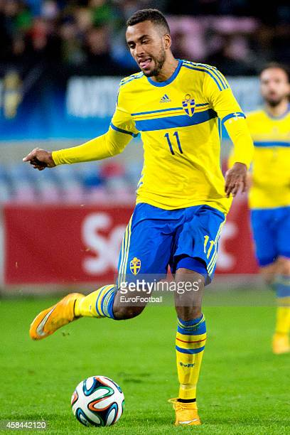 Isaac Kiese Thelin of Sweden in action during the UEFA Under21 Championship qualifying match between Sweden and France in Orjans Vall Stadium on...