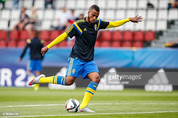 Isaac Kiese Thelin of Sweden is seen during warm up prior to the UEFA Under21 European Championship between Italy and Sweden at Andruv Stadium on...