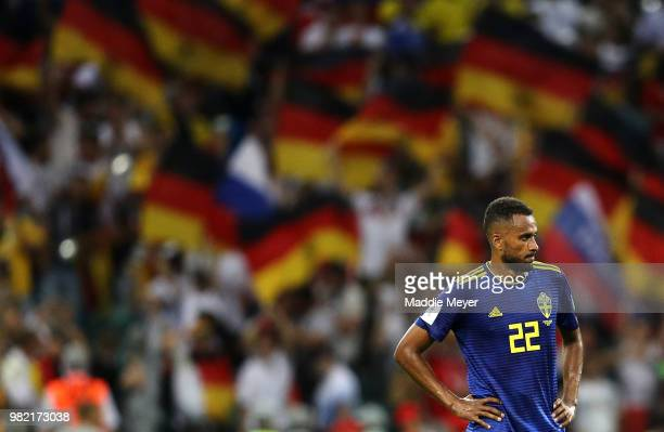 Isaac Kiese Thelin of Sweden looks dejected following the 2018 FIFA World Cup Russia group F match between Germany and Sweden at Fisht Stadium on...