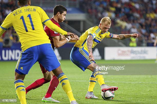 Isaac Kiese Thelin of Sweden Tiago Ilori of Portugal John Guidetti of Sweden during the UEFA European Under21 Championship final match between Sweden...