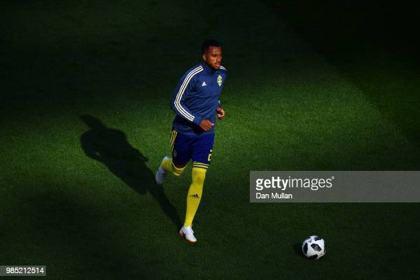 Isaac Kiese Thelin of Sweden warms up prior to the 2018 FIFA World Cup Russia group F match between Mexico and Sweden at Ekaterinburg Arena on June...