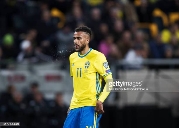 Isaac Kiese Thelin sof Sweden during the FIFA 2018 World Cup Qualifier between Sweden and Belarus at Friends arena on March 25 2017 in Solna
