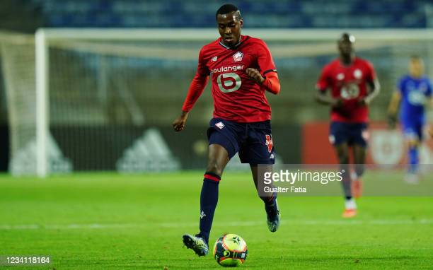 Isaac Lihadji of LOSC Lille in action during the Pre-Season Friendly match between SL Benfica and Lille at Estadio Algarve on July 22, 2021 in Loule,...