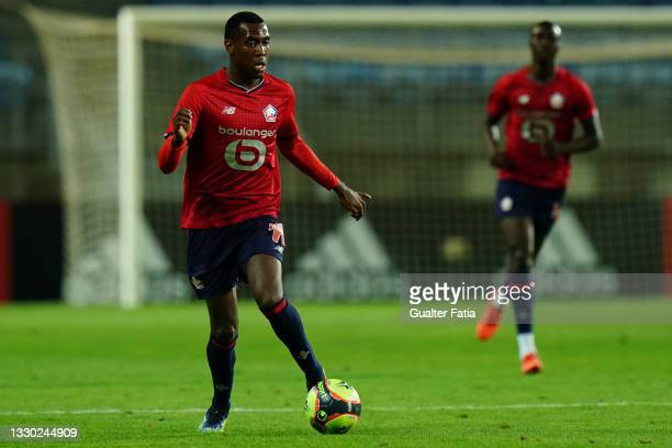 Isaac Lihadji of LOSC Lille runs with the ball during the Pre-Season Friendly match between SL Benfica and Lille at Estadio Algarve on July 22, 2021...