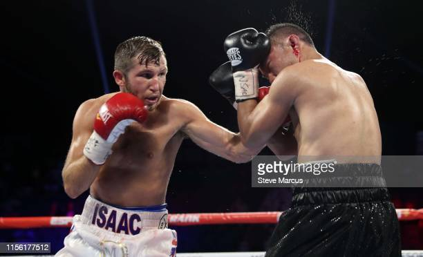Isaac Lowe connects on Duarn Vue during a featherweight fight at MGM Grand Garden Arena on June 15, 2019 in Las Vegas, Nevada. Lowe won by unanimous...