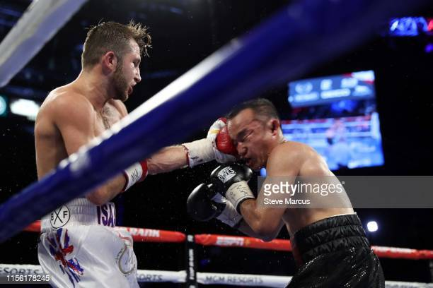 Isaac Lowe connects with a punch on Duarn Vue during a featherweight fight at MGM Grand Garden Arena on June 15, 2019 in Las Vegas, Nevada. Lowe won...