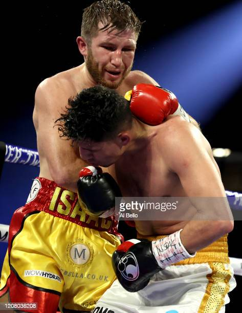 Isaac Lowe punches Alberto Guevara during their featherweight bout on February 22 2020 at MGM Grand Garden Arena in Las Vegas Nevada