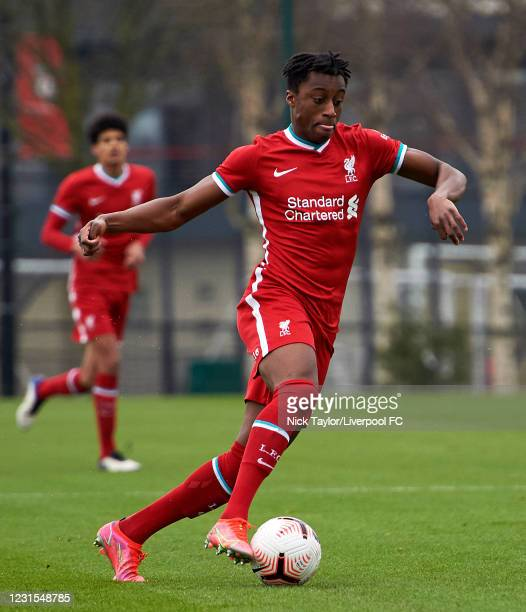 Isaac Mabaya of Liverpool in action during the U18 Premier League game between Liverpool and Manchester United at AXA Training Centre on March 6,...