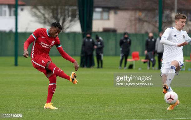 Isaac Mabaya of Liverpool scores Liverpool's fourth goal at Melwood Training Ground on November 21, 2020 in Liverpool, England.