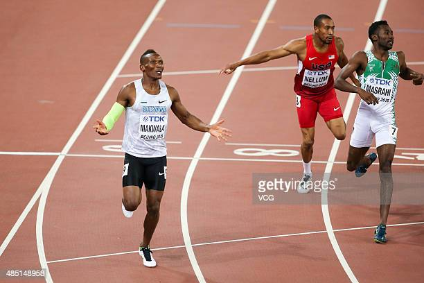 Isaac Makwala of Botswana Bryshon Nellum of USA and Yousef Ahmed Masrahi of Saudi Arabia compete in the Men's 400 metres semifinal during day three...