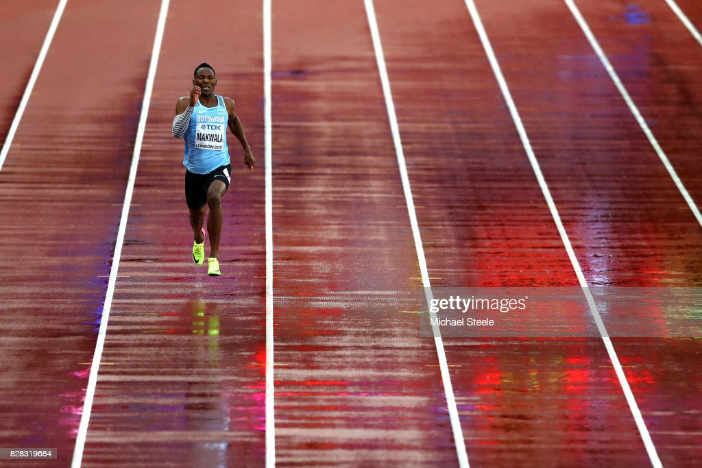 Isaac Makwala of Botswana competes solo in the Men's 200 metres qualification during day six of the 16th IAAF World Athletics Championships London 2017 at The London Stadium on August 9, 2017 in London, United Kingdom.
