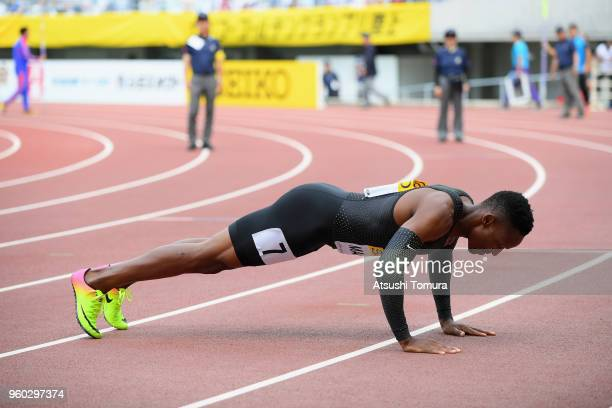 Isaac Makwala of Botswana performs pushups after winning the finish line to win the Men's 200m during the IAAF Golden Grand Prix at Yanmar Stadium...
